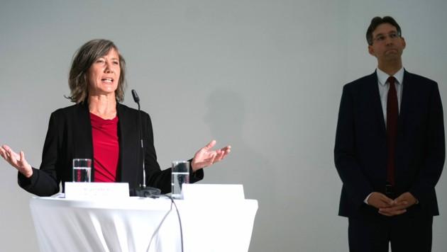Verkehrsstadträtin Birgit Hebein (Grüne) und Bezirksvorsteher Markus Figl (ÖVP) bei der Präsentation des City-Fahrverbots