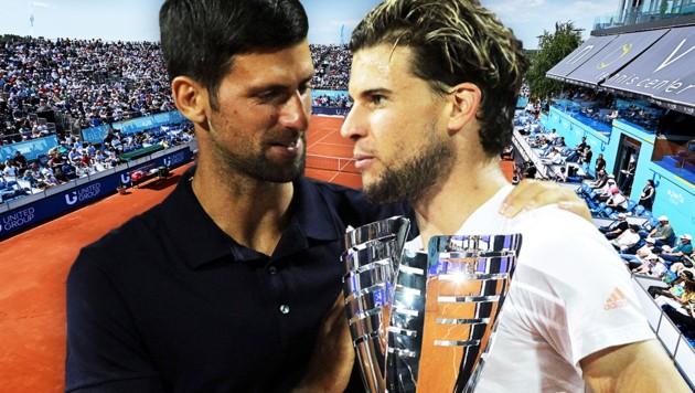 Superstar Novak Djokovic mit Belgrad-Sieger Dominic Thiem (re.) (Bild: APA/AFP/Andrej ISAKOVIC, GEPA, krone.at-Grafik)