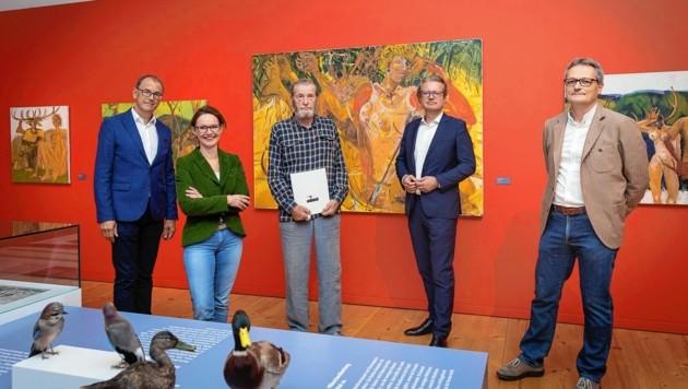 Wolfgang Muchitsch und Alexia Getzinger, Gerald Brettschuh, Kulturlandesrat Christopher Drexler und Karlheinz Wirnsberger vom Jagdmuseum (Bild: UMJ/N.Lackner)