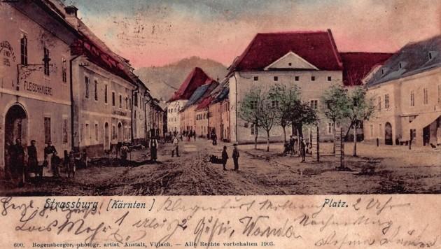 Hauptplatz von Straßburg 1899: Eine der Ansichten im Buch. (Bild: Mittelkärnten in alten Ansichten)