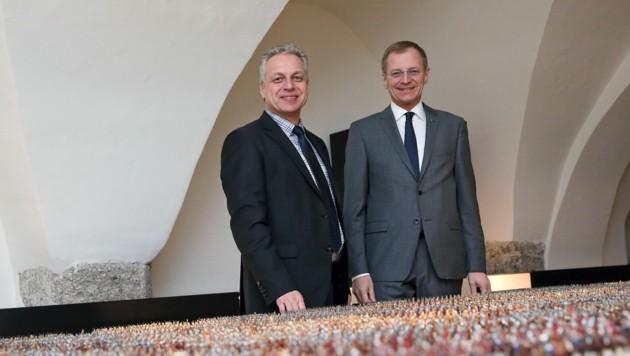 Bürgermeister Franz Stefan Karlinger und LH Thomas Stelzer (Bild: Schauer Sandra)