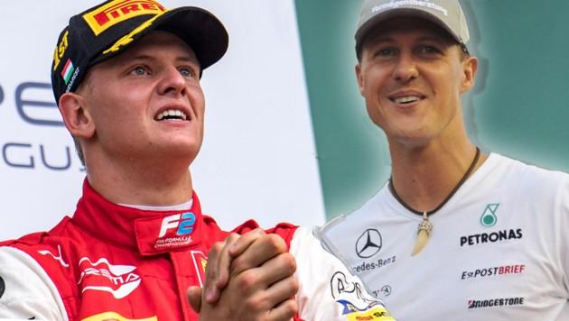 Mick Schumacher (li.) und sein Vater Michael