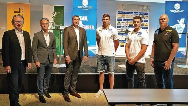 Pajovic (re.) blickte gestern in Graz mit LR Drexler, Stadtrat Hohensinner & Co. auf die EM zurück. (Bild: Sepp Pail)
