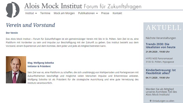 Wolfgang Sobotka ist Präsident des Alois-Mock-Instituts. (Bild: Screenshot www.alois-mock-institut.at)