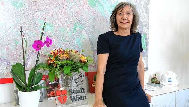 Wiens Vizebürgermeisterin und Verkehrsstadträtin Birgit Hebein in ihrem Büro: Blumen, Bücher, ein Helm (Bild: Klemens Groh)