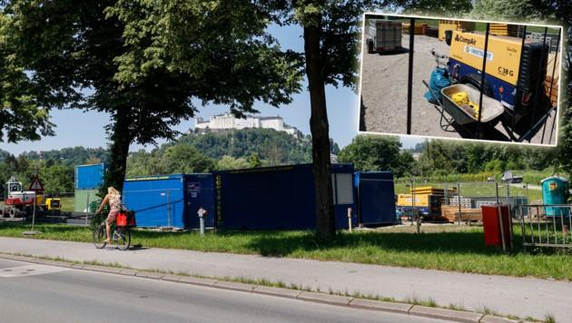 Salzburg, Hofhaymer Allee Baustelle Lagerplatz im Naturschutzgebiet (Bild: Markus Tschepp)