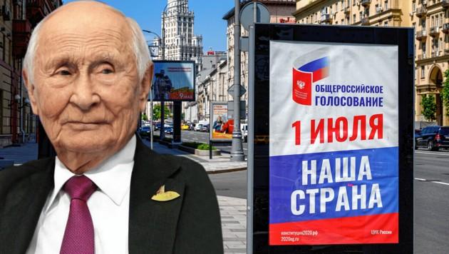 Wladimir Putin (dann 83) im Jahre 2036: So sieht ihn die russische Opposition. (Bild: AFP, FaceApp, krone.at-Grafik)