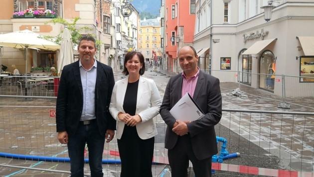 GR Thomas Mayer, LA Andrea Haselwanter-Schneider & Unternehmer Peter Paul Bloder (v. li.) wundern sich über Willi. (Bild: Liste Fritz)