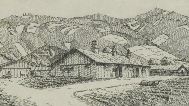 """Ansicht des Internierungslagers """"Camp 373"""" in Wolfsberg gegen die Koralpe – die Zeichnung stammt von Rudolf Schneider, etwa im Jahr 1945. (Bild: Kärntner Landesarchiv)"""