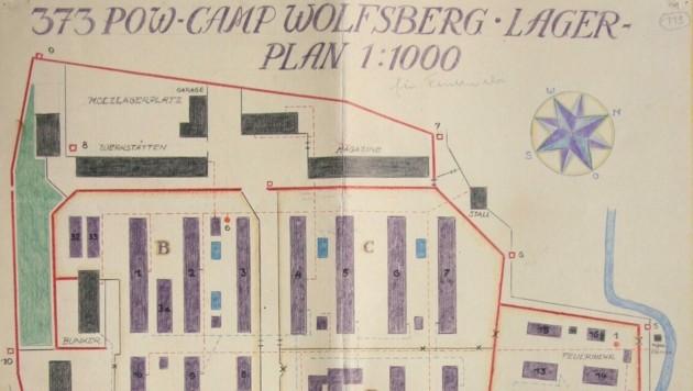 """Diesen Lageplan haben die britischen Besatzer angefertigt, nachdem sie das Lager übernommen und als """"Camp 373"""" neu aufgestellt haben. (Bild: Kärntner Landesarchiv)"""