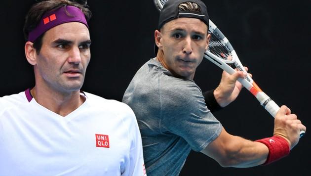 Andrew Harris (re.) attackiert Superstar Roger Federer (Bild: APA/AFP/DAVID GRAY, APA/AFP/William WEST)