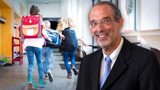 """Auch Bildungsminister Heinz Faßmann (ÖVP) rollt die Frage nach einem möglichen """"Freitesten"""" neu auf. (Bild: APA/HELMUT FOHRINGER, stock.adobe.com, krone.at-Grafik)"""
