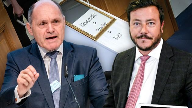 Wolfgang Sobotka (links) und René Benko (rechts) werden auf Initiative von SPÖ und NEOS vor den U-Ausschuss geladen. (Bild: APA/HELMUT FOHRINGER, APA/GEORG HOCHMUTH, APA/ROLAND SCHLAGER, krone.at-Grafik)