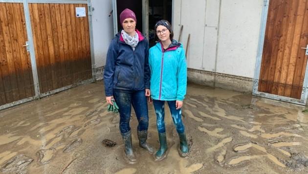 Der Hof von Familie Bischof in Ranten wurde überflutet. (Bild: Kevin Geißler)