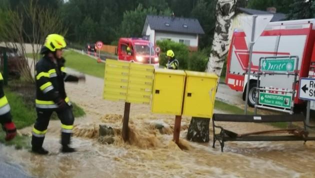 Unwettereinsätze in Berndorf und Steinberg-Rohrbach (Gemeine Hitzendorf) (Bild: Presseteam BFVGU A6)