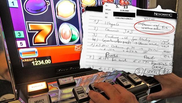 """In der """"Casinos-Affäre"""" rund um Novomatic tauchte bereits Anfang Juni eine """"Preisliste"""" (Bild) für mögliche Gesetzesänderungen auf - nun befeuert auch das Protokoll eines Polit-Meetings im Jänner 2019 den Vorwurf des versuchten Gesetzeskaufs. (Bild: APA/Georg Hochmuth, zVg, krone.at-Grafik)"""