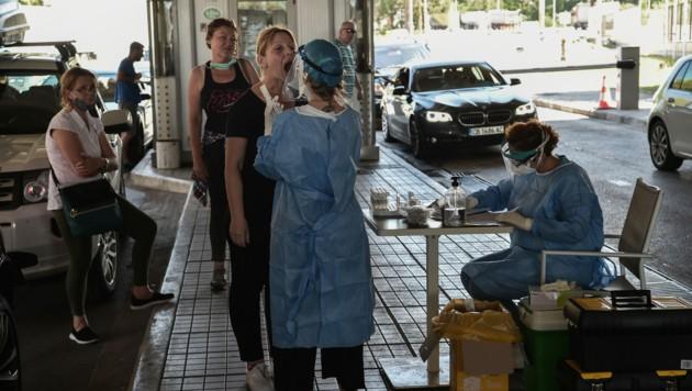 Corona-Tests an der Grenze zu Griechenland Ende Juni 2020