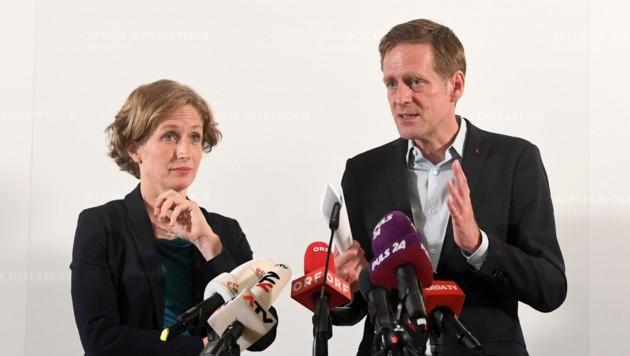 NEOS-Fraktionsführerin Stefanie Krisper und SPÖ-Kollege Jan Krainer (Bild: APA/HELMUT FOHRINGER)
