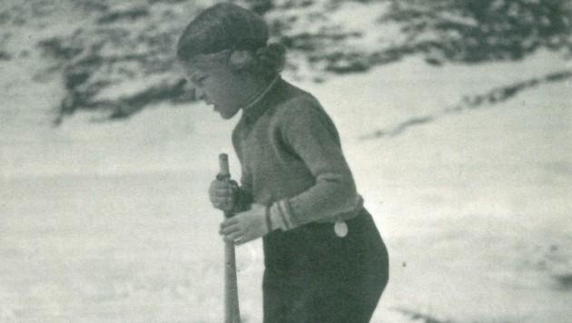 """""""Putzi"""" Frandl bei ihren ersten """"Gehversuchen"""" im Skifahren mit fünf Jahren in Radstadt. (Bild: SC Radstadt)"""