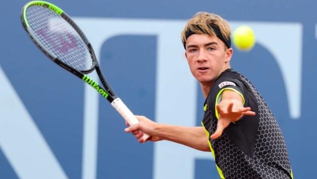 Sein Einzel gewann Lukas Neumayer sicher, im Doppel mit Alex Mozkovoy reichte es knapp nicht (Bild: GEPA pictures/ Philipp Brem)