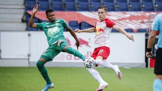 Lieferings Luka Sucic (r.) war mit zwei Treffern beim 4:2-Heimsieg über Lustenau der Matchwinner. (Bild: GEPA pictures/ Jasmin Walter)