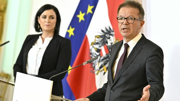 Tourismusministerin Elisabeth Köstinger (ÖVP) und Gesundheitsminister Rudolf Anschober (Grüne) (Bild: APA/HANS PUNZ)