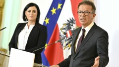 Landwirtschaftsministerin Elisabeth Köstinger (ÖVP) und Gesundheitsminister Rudolf Anschober (Grüne) (Bild: APA/HANS PUNZ)