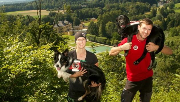 Die Lawinen- und Vermisstensuchhundestaffel trainierte in Hellbrunn (Bild: Matthias Leinich)