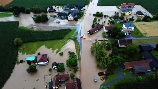 Hochwasser Anfang Juli 2020 in St. Johann-Köppling (Bild: Feuerwehren des Abschnitt 3)