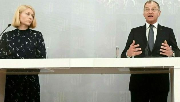 Christine Haberlander und Thomas Stelzer (Bild: APA/HELMUT FOHRINGER)