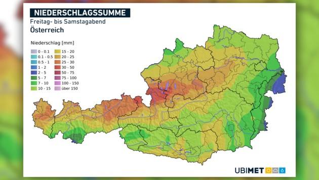 Die prognostizierte Niederschlagssumme von Freitagabend bis Samstagabend