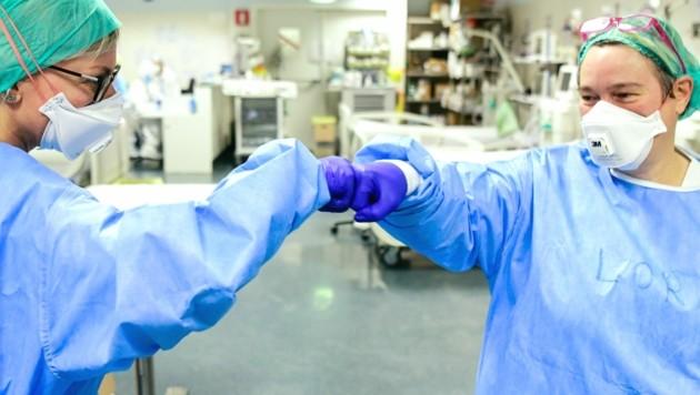 Geschafft: Zum erstem Mal seit Beginn der Corona-Pandemie liegen keine Covid-19-Patienten mehr auf der Intensivstation des Krankenhauses von Bergamo. (Bild: AFP)