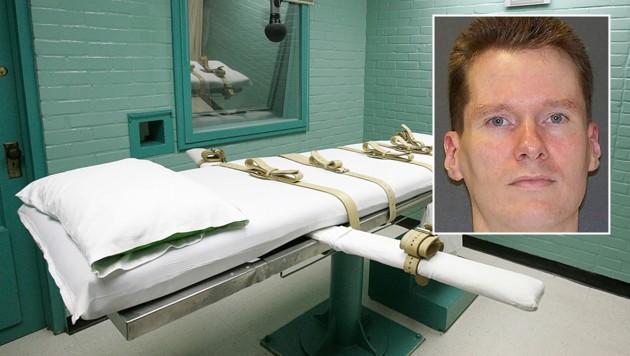 Billy Joe Wardlow (kl. Bild) saß 27 Jahre lang im Todestrakt, bis er im Hinrichtungsraum des Gefängnisses in Huntsville (gr. Bild) durch die Giftspritze starb. (Bild: AP)