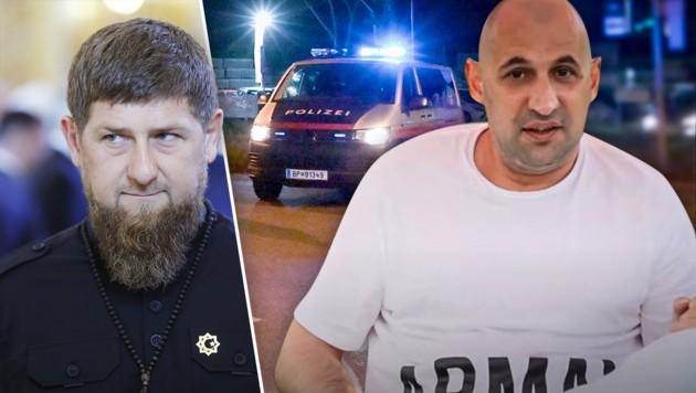 Kadyrow sieht eine westliche Verschwörung. (Bild: APA/AFP/SPUTNIK/Mikhail METZEL, youtube.com/Anzor T. B. M., APA/HERBERT P. OCZERET, krone.at-Grafik)