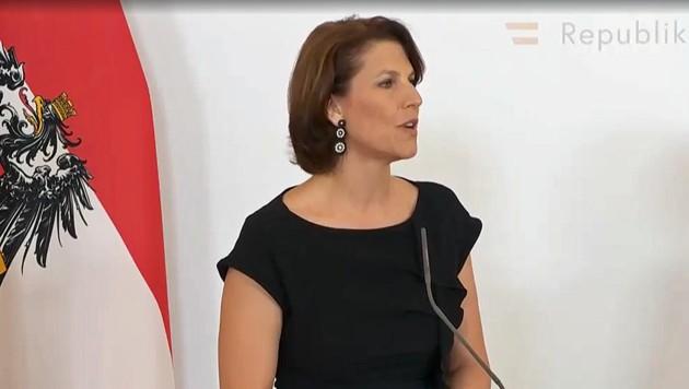 Karoline Edtstadler beschäftigte sich auch schon in ihrer Amtszeit als Innenstaatssekretärin mit Cyber-Mobbing. (Bild: Screenshot APA-Livestream)