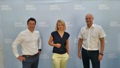 Martin Schnitzer (Institut für Sportwissenschaft, Universität Innsbruck), Stadträtin Elisabeth Mayr und Romuald Niescher (Amtsvorstand Sport, v.li) präsentierten den Sportentwicklungsplan. (Bild: Manuel Schwaiger)