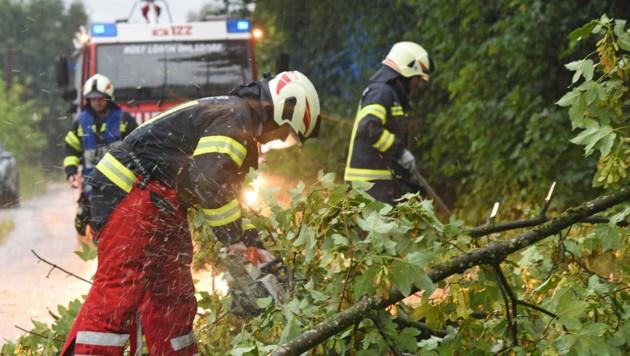 Heftige Unwetter in Oberösterreich mit umgestürzten Bäumen, Sturmschäden und Überflutungen. Auch die Feuerwehr Ohlsdorf stand im Hilfseinsatz. (Bild: Wolfgang Spitzbart. .)