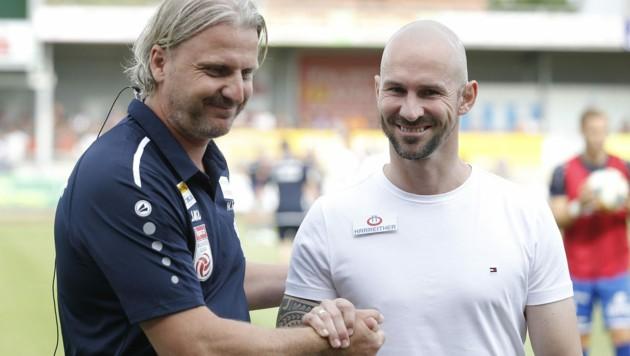 Markus Schopp (l.) und Christian Ilzer - zwei Steirer bei Sturm und Hartberg (Bild: APA/ERWIN SCHERIAU)