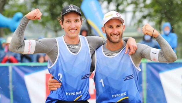 Jubelten auf der Donauinsel über Platz drei: Julian Hörl und Tobias Winter (Bild: Michael Meindl)
