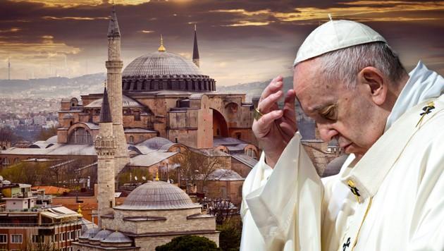 """Auch Papst Franziskus brachte seinen """"großen Schmerz"""" über die Umwidmung zum Ausdruck. (Bild: APA/AFP/VATICAN MEDIA/Handout, stock.adobe.com, krone.at-Grafik)"""