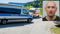 Mit einem Großaufgebot an Beamten und einer Öffentlichkeitsfahndung sucht die Polizei im Schwarzwald nach diesem 31-jährigen Mann. ER hatte vier Polizisten entwaffnet und ist mit Pfeil und Bogen auf der Flucht. (Bild: APA/dpa/Philipp von Ditfurth, Polizei Offenburg)