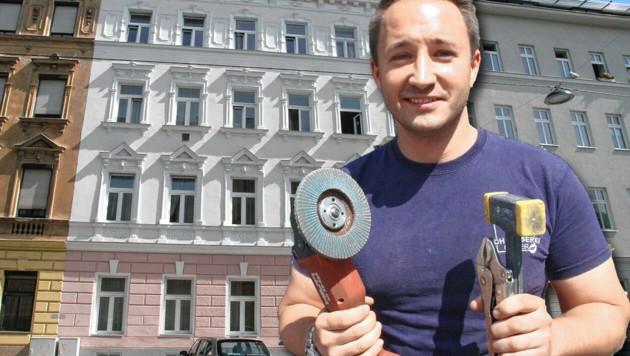 Beinah-Katastrophe in der Degengasse. Zum Glück griff Andreas Eisner nicht zur Flex. (Bild: Andi Schiel, krone.at-Grafik)