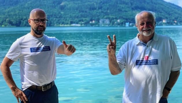 Die engagierten Initiatoren Gerhard Godescha und Walter Polesnik sind zufrieden, obwohl ihr Volksbegehren - das vierte im Land - nicht wie erhofft durchstartete. In den Landtag kommt es aber. (Bild: Kerstin Wassermann)