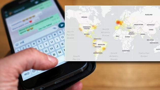 Die Störungskarte zeigt die Hotspots des Großausfalls von Whatsapp. (Bild: Screenshot allestoerungen.at, stock.adobe.com, krone.at-Grafik)