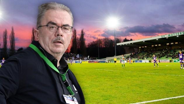 Martin Pucher war Regionalkaiser. Erfolgreich als Banker wie als Fußballmanager des SV Mattersburg. (Bild: GEPA, APA, krone.at-Grafik)