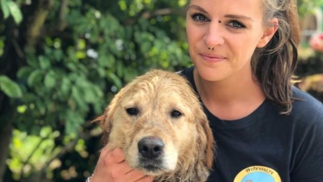 Eine Pfotenhilfe-Tierpflegerin mit einem der drei verwahrlosten Golden Retriever (Bild: Pfotenhilfe)
