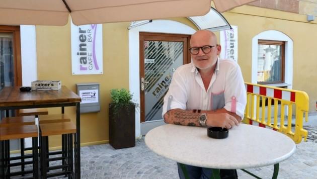 """Rainer Kopf, Betreiber vom Café """"Rainer's"""" am Brucknerplatz in Steyr (Bild: Kerschbaummayr Werner)"""