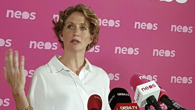 """NEOS-Fraktionsführerin Stephanie Krisper bei ihrer """"ersten Zwischenbilanz zum Ibiza-U-Ausschuss"""" (Bild: APA/HERBERT NEUBAUER)"""