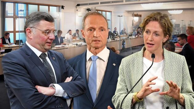 SPÖ-Vizechef Jörg Leichtfried (links) und NEOS-Fraktionsführerin Stephanie Krisper (rechts) setzten am Freitag auf direkte Konfrontation mit dem ÖVP-Abgeordneten Wolfgang Gerstl (Mitte). (Bild: APA/ROLAND SCHLAGER, APA/HELMUT FOHRINGER, krone.at-Grafik)