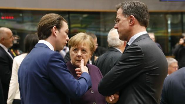 Auf Konfrontationskurs: Bundeskanzler Sebastian Kurz, die deutsche Bundeskanzlerin Angela Merkel und der niederländische Premier Mark Rutte